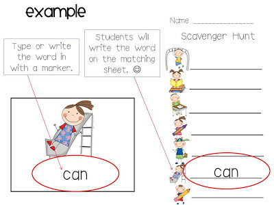 Sight word scavenger hunt freebie kreative in life to find the words and write them next to the correct picture you can use on set or two at a time fun fun fun click the pic for more details j maxwellsz