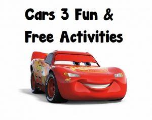 Cars 3 Family Fun Freebies