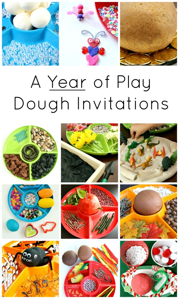 "This a collage from Fantastic Fun and Learning, of multiple play dough invitations to play. The title says, ""A Year of Play Dough Invitations""."