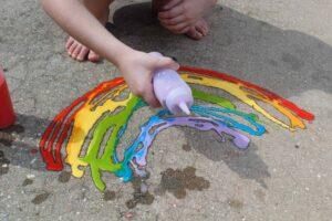 chalk paint rainbow