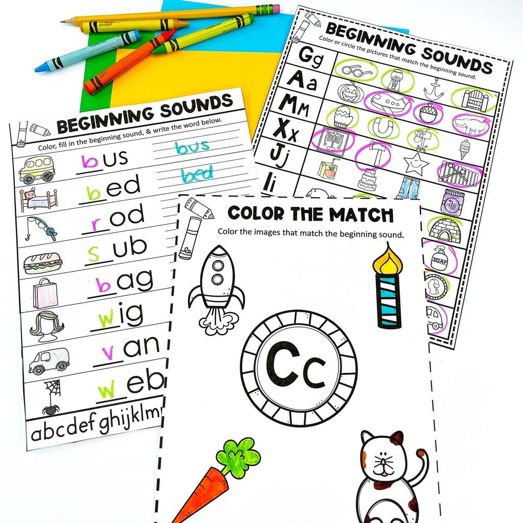 Teaching Beginning Sounds: Worksheets